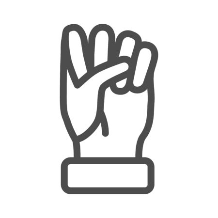 Fist line icon, hand gestures concept, power gesture sign on white background, Raised fist icon in outline style for mobile concept and web design. Vector graphics.