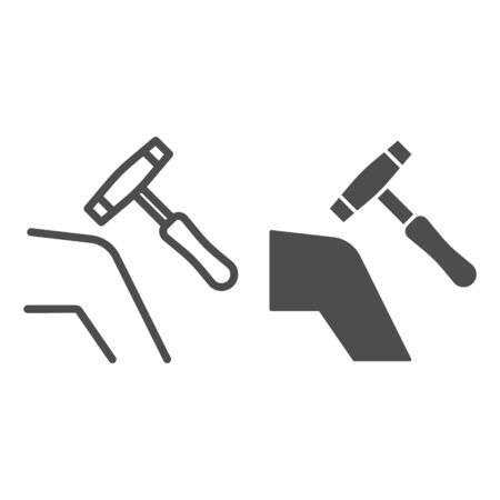 Human knee with medical hammer line and solid icon, Heath care concept, checking knee reaction with hammer sign on white background, Medical reflex hammer icon in outline style. Vector graphics.
