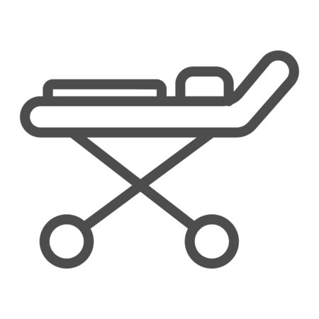 Stretcher line icon, Heath care concept, Medical couch sign on white background, Hospital wheel bed icon in outline style for mobile concept and web design. Vector graphics.
