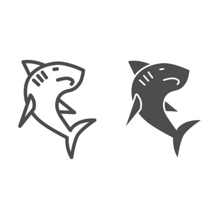 Shark line and solid icon, ocean concept, danger marine fish sign on white background, Shark silhouette icon in outline style for mobile concept and web design. Vector graphics.
