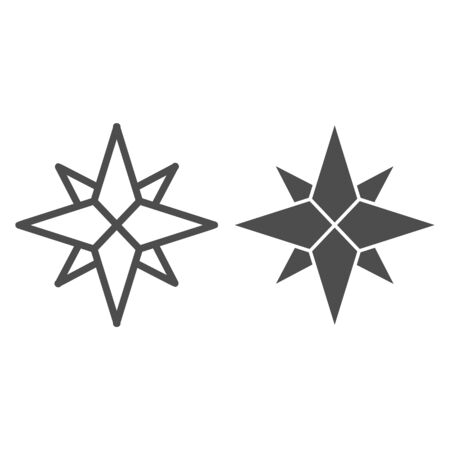 Wind rose line and solid icon, nautical concept, Compass star sign on white background, old-style wind rose compass icon in outline style for mobile concept and web design. Vector graphics.