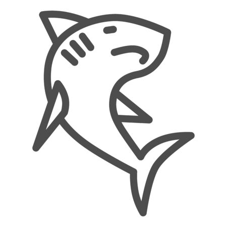 Shark line icon, ocean concept, danger marine fish sign on white background, Shark silhouette icon in outline style for mobile concept and web design. Vector graphics.
