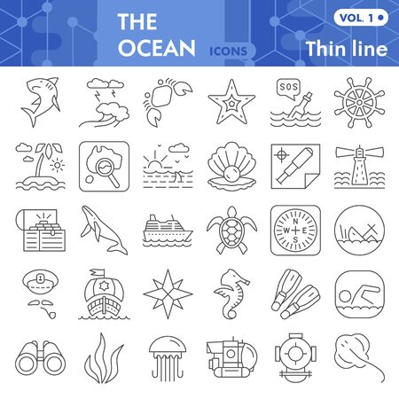 Ocean thin line icon set, nautical symbols collection or sketches. Marine life signs for web, linear style pictogram package isolated on white background. Vector graphics.