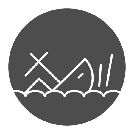 Shipwreck solid icon, marine concept, Sinking ship sign on white background, ship crash icon in glyph style for mobile concept and web design. Vector graphics.