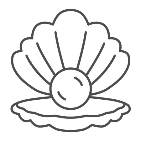 Shell with pearl thin line icon, nautical concept, Seashell sign on white background, pearl in opened seashell icon in outline style for mobile concept and web design. Vector graphics.