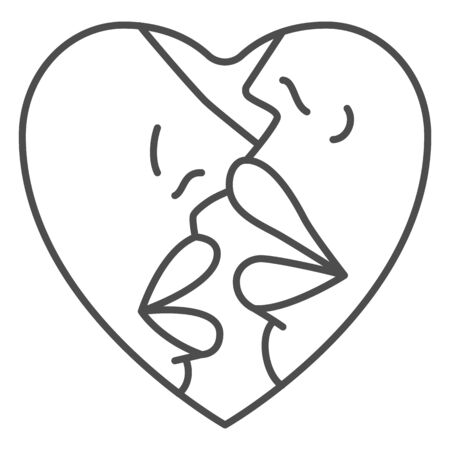 Lesbian kiss thin line icon, woman love concept, lesbian couple sign on white background, Two young kissing girls icon in outline style for mobile concept and web design. Vector graphics.