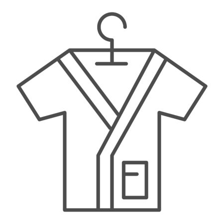 Bathrobe on handle thin line icon, spa salon concept, Bathrobes sign on white background, Beauty salon cotton shirt icon in outline style for mobile concept and web design. Vector graphics.