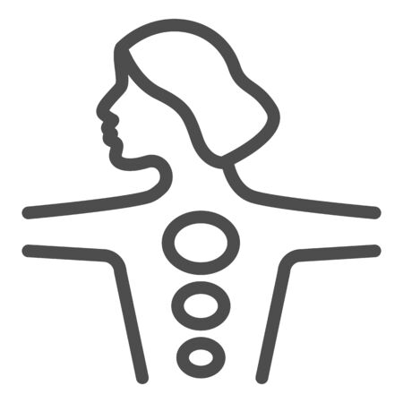 Girl body with hot stones line icon, spa salon procedure concept, Stone treatment sign on white background, woman enjoying hot stones massage icon in outline style, mobile. Vector graphics.