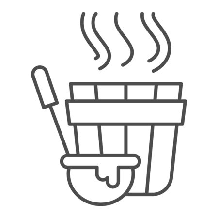 Sauna bucket and ladle thin line icon, spa concept, Bath wooden tub with big spoon sign on white background , Sauna accessories icon in outline style for mobile and web design. Vector graphics.