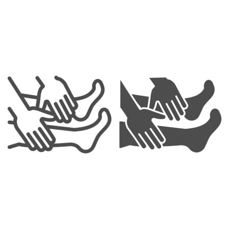 Foot massage line and solid icon, spa salon procedure concept, Two hands massage legs sign on white background, legs and arms icon in outline style for mobile concept and web design. Vector graphics.