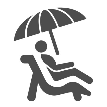 Person on sunbed solid icon, summer concept, Man lying on deck chair under umbrella sign on white background, Sunbathing man icon in glyph style for mobile and web design. Vector graphics.