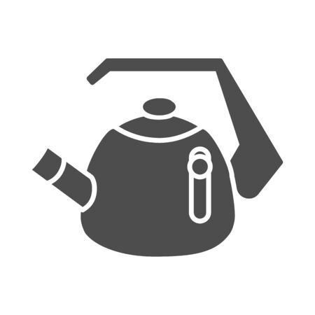 Whistling kettle solid icon, kitchenware concept, classic style teapot sign on white background, kettle with whistle and handle icon in glyph style for mobile, web design. Vector graphics. Vector Illustratie