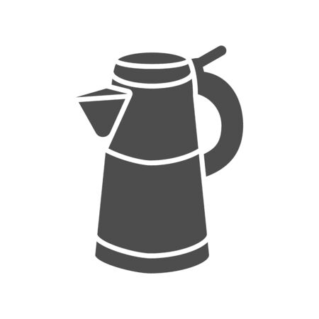 Geyser coffee maker solid icon, morning coffee concept, Turkish coffee kettle sign on white background, Moka pot icon in glyph style for mobile concept and web design. Vector graphics. Illustration