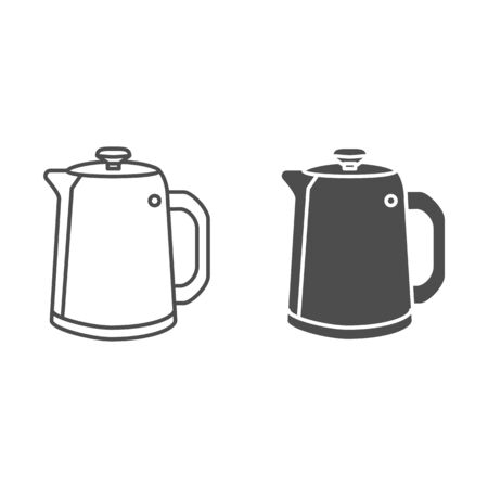 Vintage kettle for tea line and solid icon, kitchenware concept, straight shaped teapot sign on white background, Kitchen tea maker icon in outline style for mobile and web design. Vector graphics.