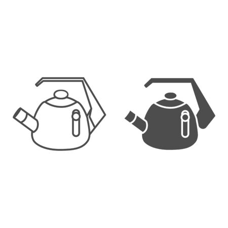 Whistling kettle line and solid icon, kitchenware concept, classic style teapot sign on white background, kettle with whistle and handle icon in outline style for mobile, web design. Vector graphics.