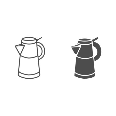Geyser coffee maker line and solid icon, morning coffee concept, Turkish coffee kettle sign on white background, Moka pot icon in outline style for mobile concept and web design. Vector graphics.
