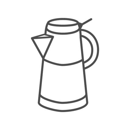 Geyser coffee maker thin line icon, morning coffee concept, Turkish coffee kettle sign on white background, Moka pot icon in outline style for mobile concept and web design. Vector graphics.