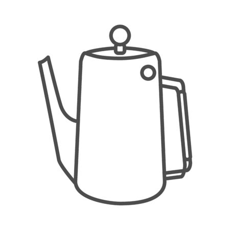 Kitchen tea or coffee pot thin line icon, Kitchenware concept, water kettle sign on white background, tea or coffee vintage pot icon in outline style for mobile, web design. Vector graphics.