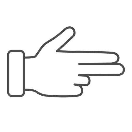 Three fingers gesture thin line icon, Hand gestures concept, Pointing fingers sign on white background, hand showing number three icon in outline style for mobile, web. Vector graphics.