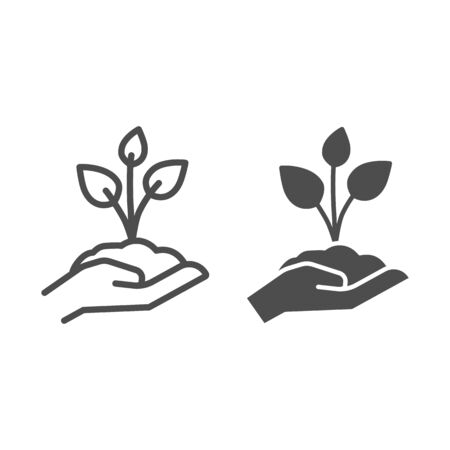 Young sprout with three leaves in hand line and solid icon, save nature concept, seedling with handful of soil on human palm sign on white background, young plant icon, outline style. Vector graphics.