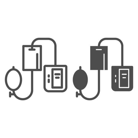 Electronic tonometer line and solid icon, Heath care concept, Arterial blood pressure checking device sign on white background, sphygmomanometer icon in outline style for mobile, web. Vector graphics.