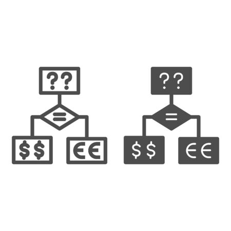 Business flowchart line and solid icon, business strategy concept, making investment decision chart sign on white background, block diagram with questions and currencies icon outline. Vector graphics.