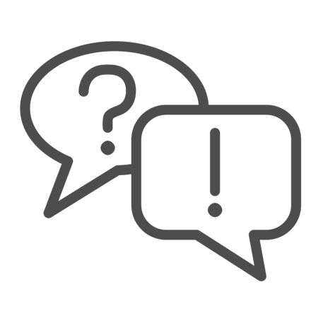 Question and answer bubbles line icon, business communication concept, question mark and exclamation point on white background, question and answer speech bubbles icon in outline. Vector. Ilustracja