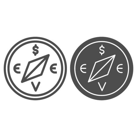 Compass with dollar and euro sign line and solid icon, business strategy concept, business direction compass sign on white background, compass indicating direction of investments icon outline. Vector.