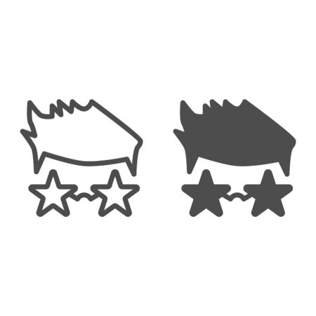 Person in star glasses line and solid icon, music festival concept, Star singer in glasses sign on white background, Fan in glasses in form of stars icon in outline style for mobile. Vector graphics.
