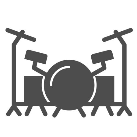 Drums solid icon, Music festival concept, drum set sign on white background, Drum kit icon in glyph style for mobile concept and web design. Vector graphics.