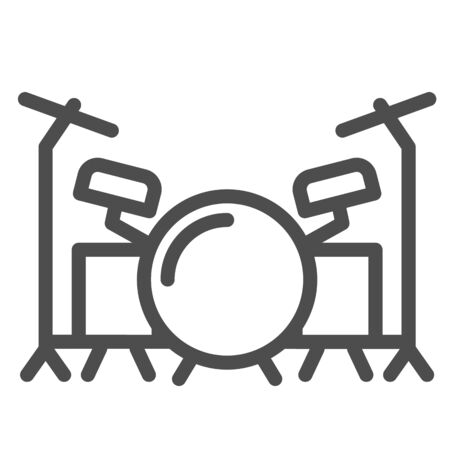 Drums line icon, Music festival concept, drum set sign on white background, Drum kit icon in outline style for mobile concept and web design. Vector graphics.