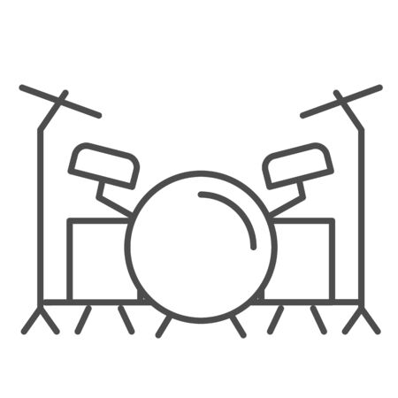 Drums thin line icon, Music festival concept, drum set sign on white background, Drum kit icon in outline style for mobile concept and web design. Vector graphics.