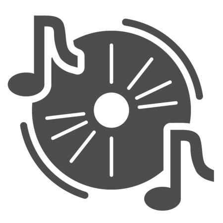 Audio disc solid icon, Music festival concept, Cd and music notes sign on white background, Musical symbol in glyph style for mobile concept and web design. Vector graphics. Vettoriali