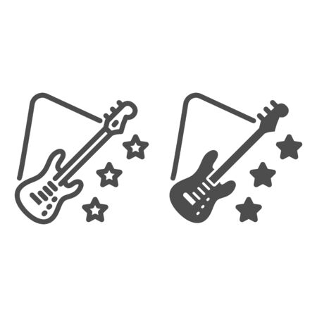 Guitar line and solid icon, Music festival concept, Electric Guitar sign on white background, Guitar with stars icon in outline style for mobile concept and web design. Vector graphics.