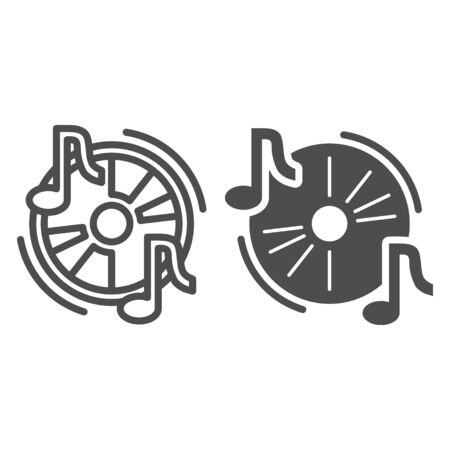 Audio disc line and solid icon, Music festival concept, Cd and music notes sign on white background, Musical symbol in outline style for mobile concept and web design. Vector graphics. Vettoriali