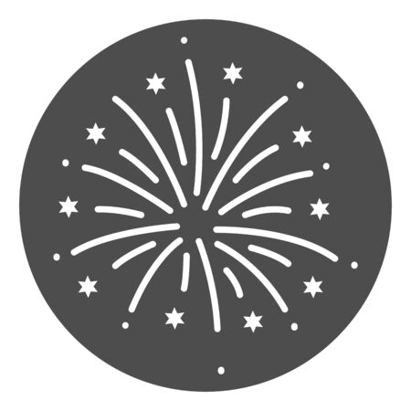 Firework solid icon, Explosive pyrotechnic show concept, Fireworks with bursting stars sign on white background, salutes icon in glyph style for mobile and web design. Vector graphics.