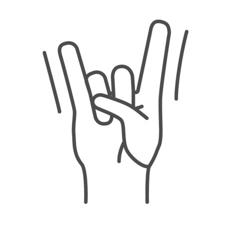 Rock hand gesture thin line icon, Music festival concept, rock and roll sign on white background, hard rock or heavy metal hand icon in outline style for mobile and web design. Vector graphics.