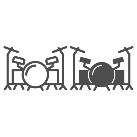 Drums line and solid icon, Music festival concept, drum set sign on white background, Drum kit icon in outline style for mobile concept and web design. Vector graphics.