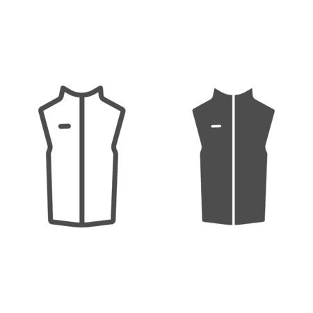 Sport vest line and solid icon, Outdoor clothing concept, sleeveless jacket sign on white background, waistcoat with zipper icon in outline style for mobile concept and web design. Vector graphics. Çizim