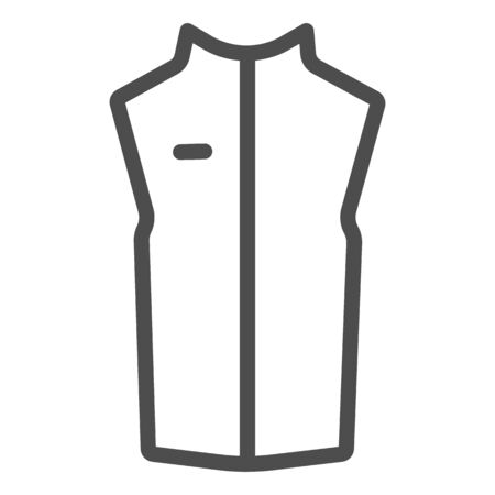 Sport vest line icon, Outdoor clothing concept, sleeveless jacket sign on white background, waistcoat with zipper icon in outline style for mobile concept and web design. Vector graphics.