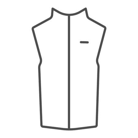 Sport vest thin line icon, Outdoor clothing concept, sleeveless jacket sign on white background, waistcoat with zipper icon in outline style for mobile concept and web design. Vector graphics.