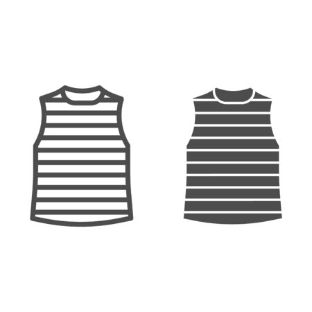 Stripped vest line and solid icon, Summer clothes concept, stripped t-shirt sign on white background, sailor vest icon in outline style for mobile concept and web design. Vector graphics. Çizim