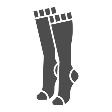 Women knee socks solid icon, clothes concept, Female hosiery sign on white background, high socks icon in glyph style for mobile concept and web design. Vector graphics.