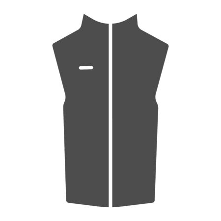 Sport vest solid icon, Outdoor clothing concept, sleeveless jacket sign on white background, waistcoat with zipper icon in glyph style for mobile concept and web design. Vector graphics.