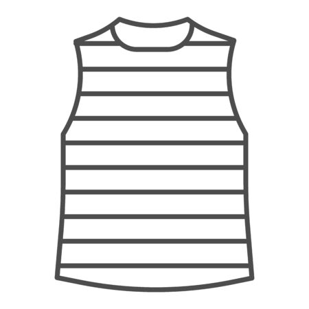 Stripped vest thin line icon, Summer clothes concept, stripped t-shirt sign on white background, sailor vest icon in outline style for mobile concept and web design. Vector graphics. Çizim