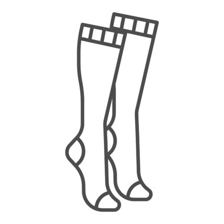 Women knee socks thin line icon, clothes concept, Female hosiery sign on white background, high socks icon in outline style for mobile concept and web design. Vector graphics. Çizim