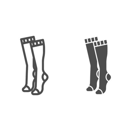 Women knee socks line and solid icon, clothes concept, Female hosiery sign on white background, high socks icon in outline style for mobile concept and web design. Vector graphics.