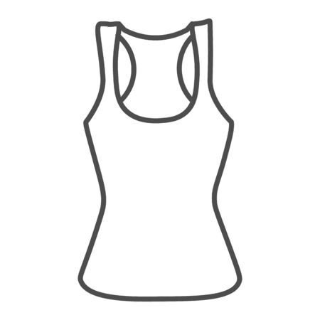 Tank shirt thin line icon, Summer clothes concept, sporty summer top sign on white background, women tank top icon in outline style for mobile concept and web design. Vector graphics. Çizim