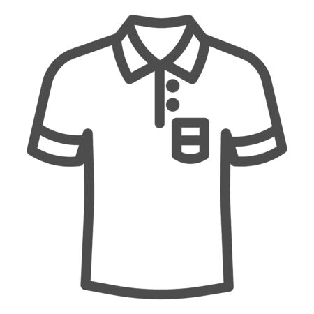 Polo line icon, Summer clothes concept, unisex shirt sign on white background, casual t-shirt icon in outline style for mobile concept and web design. Vector graphics. Illustration