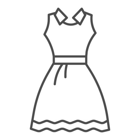 Sundress thin line icon, Summer clothes concept, Evening dress sign on white background, elegant dress icon in outline style for mobile concept and web design. Vector graphics.